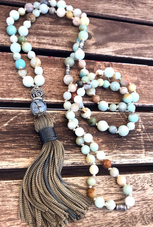 Amazonite Mala Necklace Yoga Tassel Necklace 108 Mala Beads