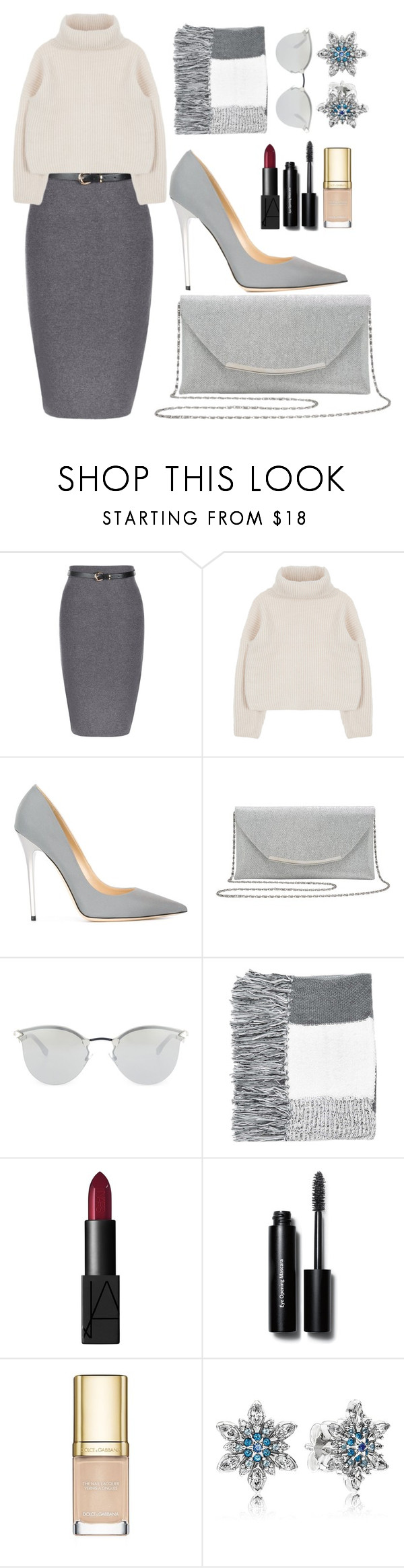 """It's Cold Outside"" by richiolle ❤ liked on Polyvore featuring Jimmy Choo, M&Co, Fendi, Topshop, NARS Cosmetics, Bobbi Brown Cosmetics, Dolce&Gabbana and Pandora"