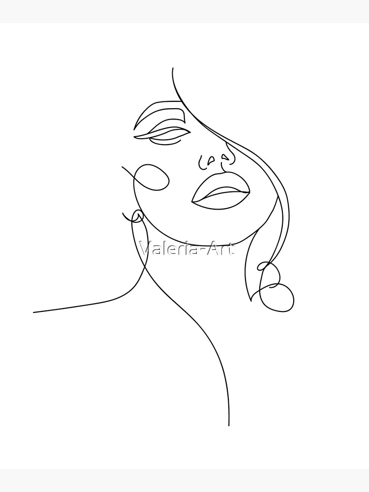 Lamina Montada De Madera Elegante Cara Minimalista En Una Linea De Valeria Art En 2021 Dibujo Con Lineas Arte De Silueta Dibujos