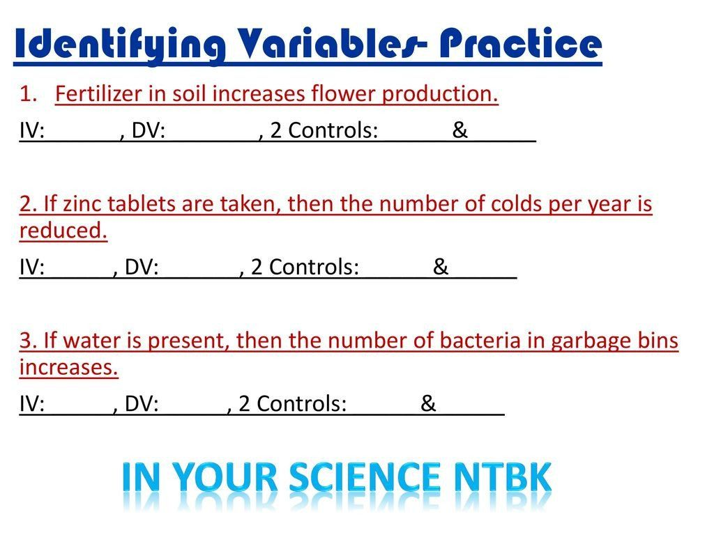 Identifying Variables Worksheet Answers Experimental