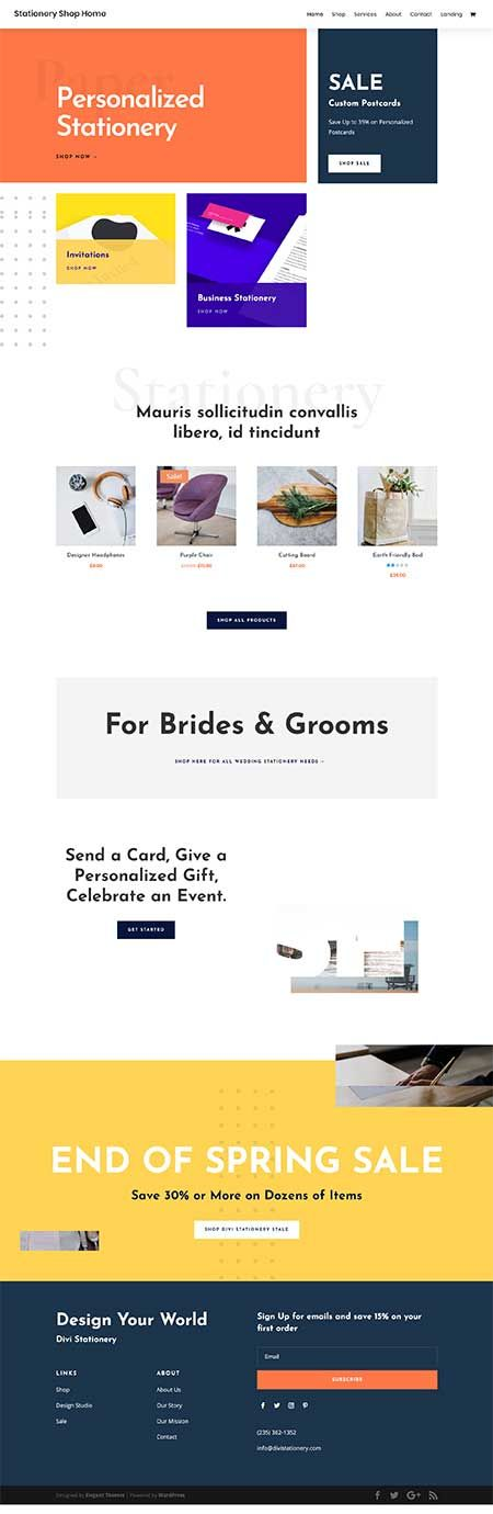 Stationary Shop Website Example Built With Divi Theme Stationary Shop Shopping Websites Theme