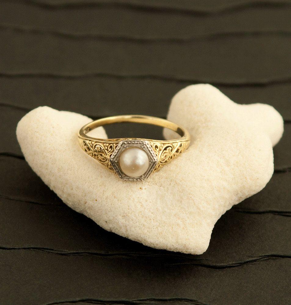 Pearl Ring  Brass Adjustable Ring  Vintage Ring