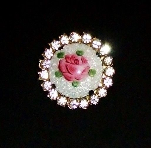 Enamel Guilloche Roses with Rhinestone Settings Antique Earrings with Screw Back Closure