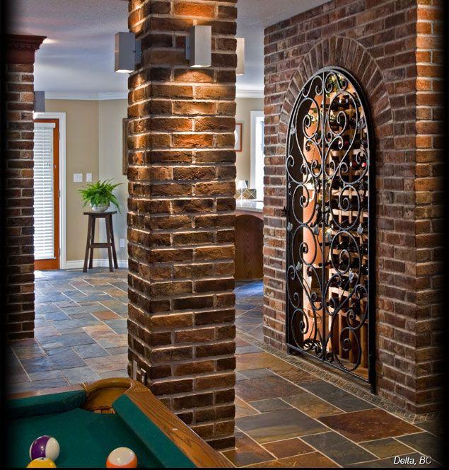 Exceptional Cultured Stone High Desert Used Brick Interior Column Wine Cellar