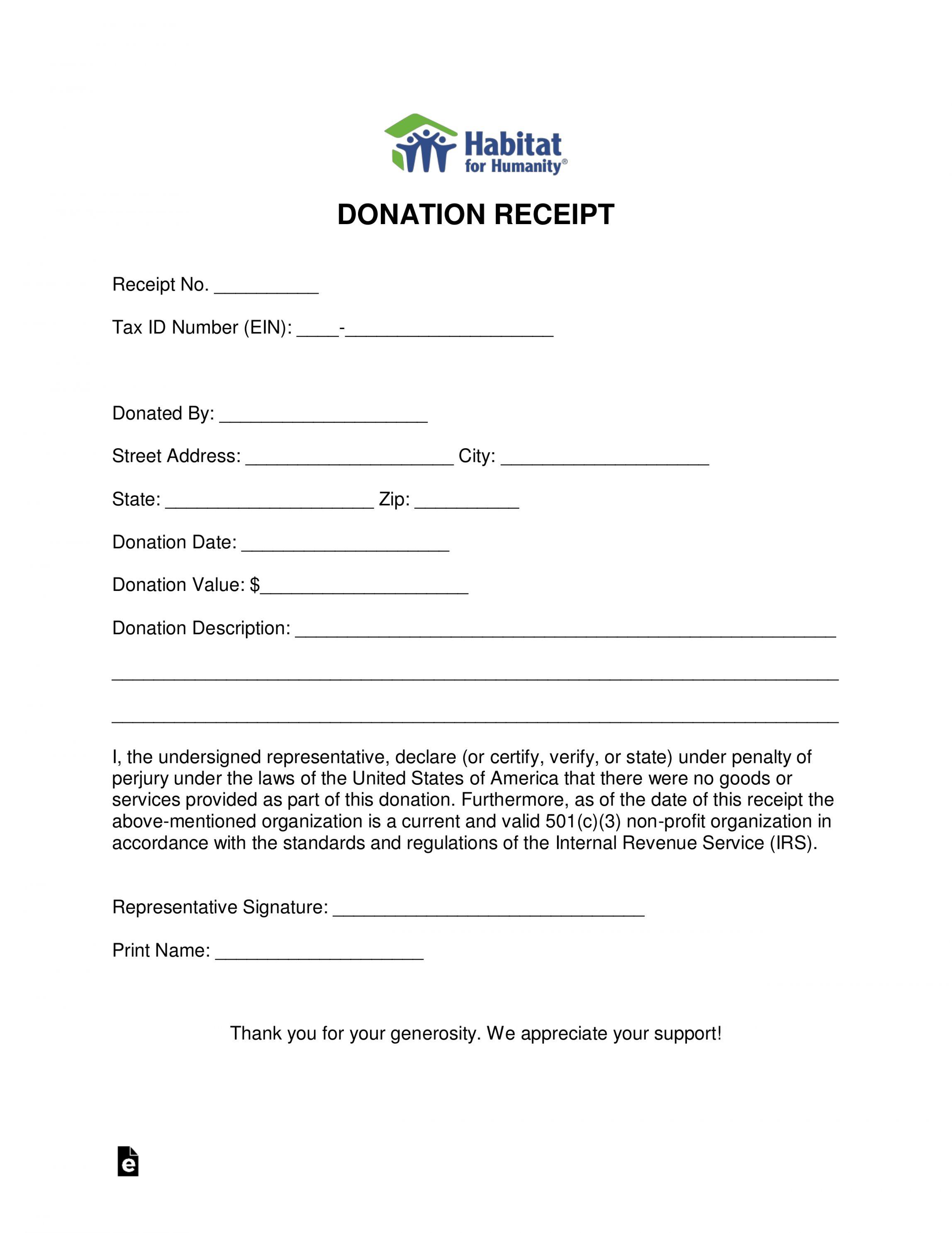 Explore Our Printable Furniture Donation Receipt Template Receipt Template Habitat For Humanity Receipt