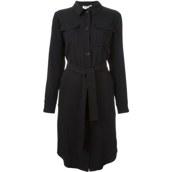 Opening Ceremony Belted Shirt Dress (625 CAD) ❤ liked on Polyvore featuring dresses, black, long shirt dress, belted dress, belted shirt dress, long black shirt dress and opening ceremony