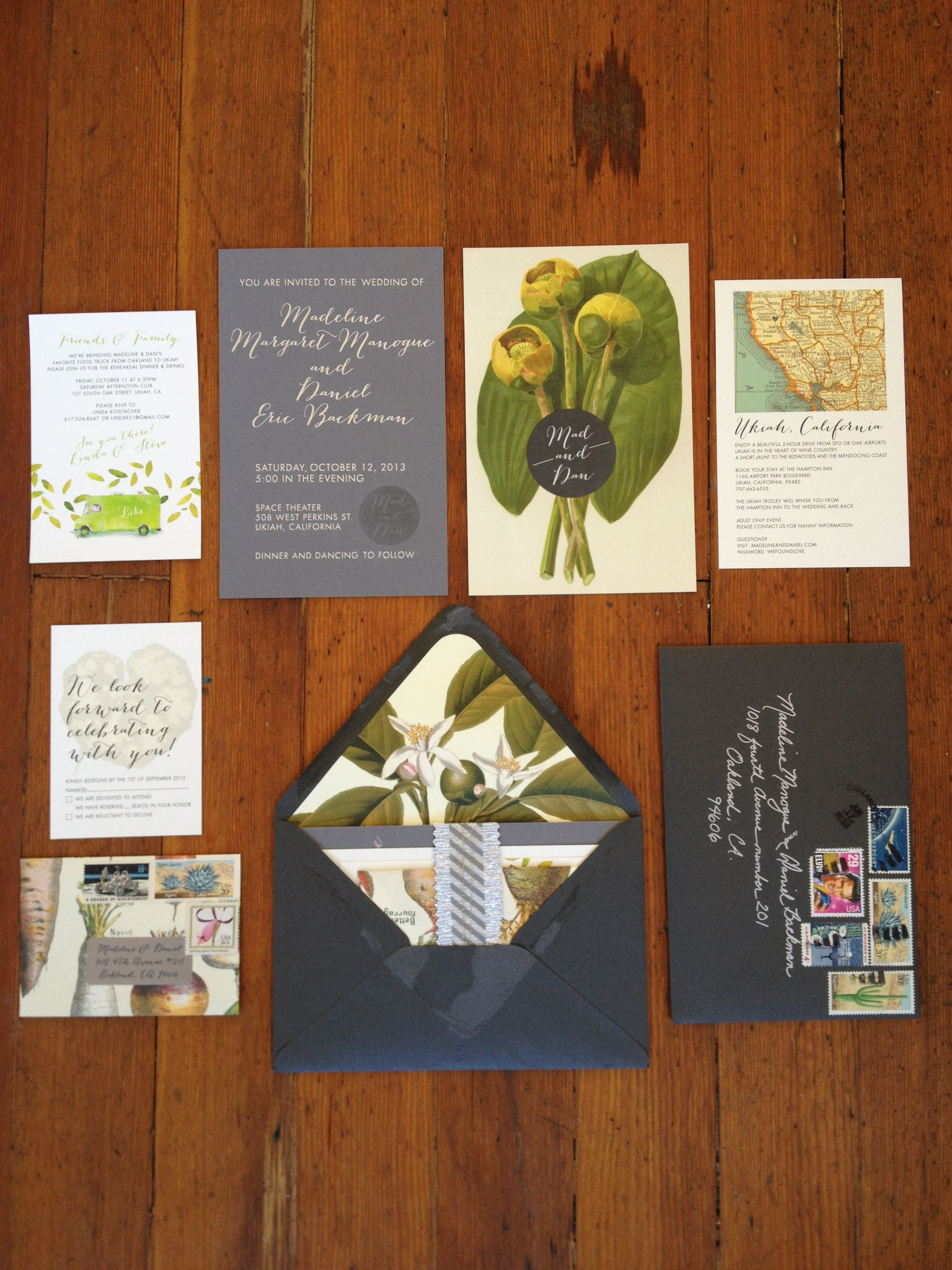 Vintage Botanical Wedding Invitations featuring vintage botanical