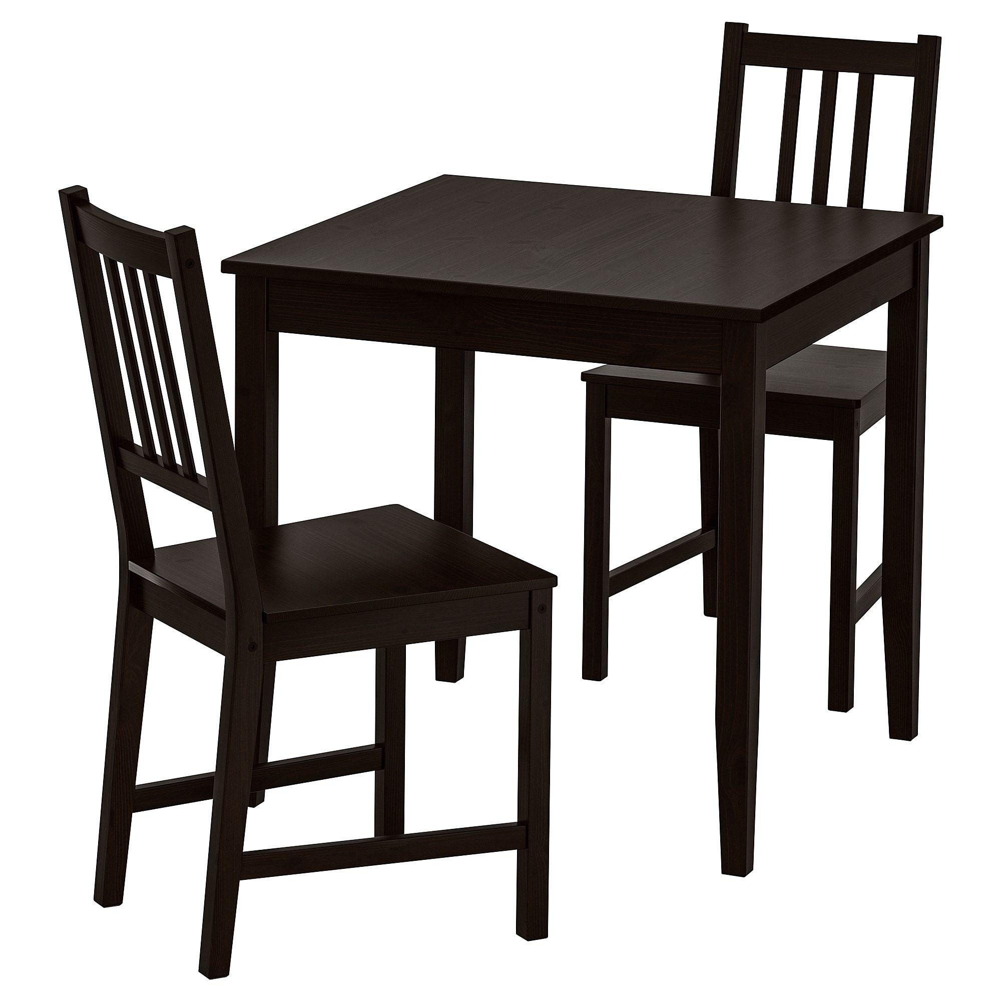 ikea lerhamn stefan table and 2 chairs black brown brown black rh pinterest com