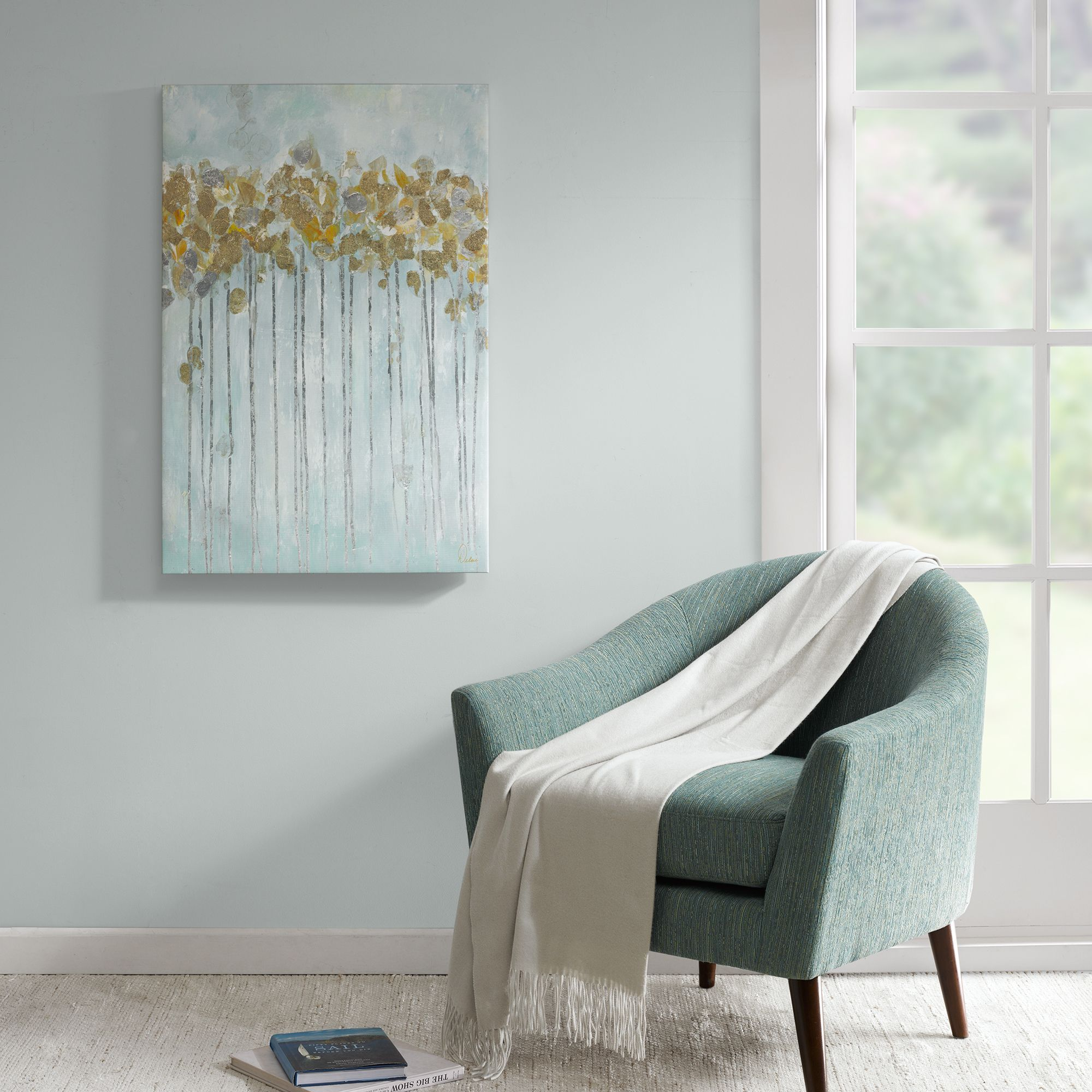 madison park minted forest seafoam gel coated canvas with gold rh pinterest com