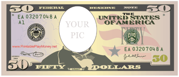 Put Your Own Portrait Over The Face Of President Grant With This Printable Fifty Dollar Bill Free To Download And P Addition Flashcards Bills Printable Dollar