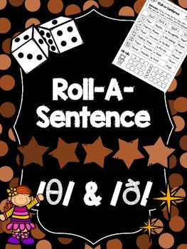 image relating to Articulation Printable Worksheets known as FREEBIE: Roll-A-Sentence /th/ -Articulation Printables for