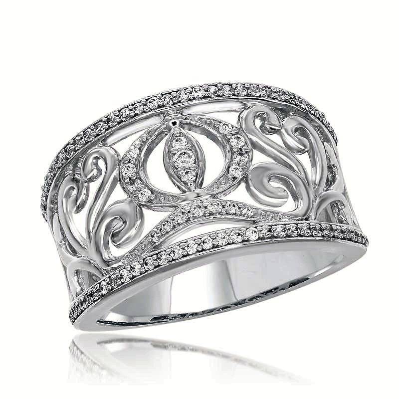 14KT White Gold Diamond Carriage Ring from the Cinderella