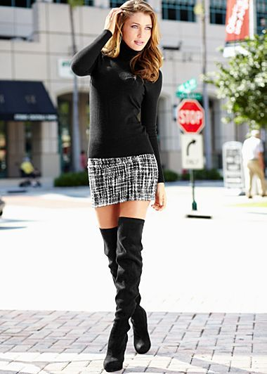 Basic t-neck, tweed mini skirt, thigh-high boots ;) | Clothes ...