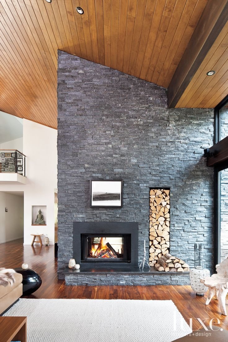 Contemporary Stone Fireplace Modern Stone Fireplace Living Room