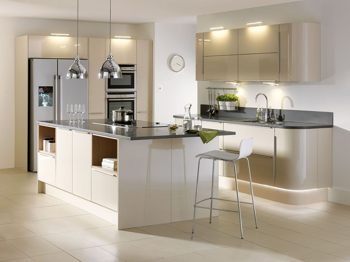 Hygena Sanvito Latte Kitchen Contemporary Kitchen Refacing Kitchen Cabinets Cost Homebase Kitchens