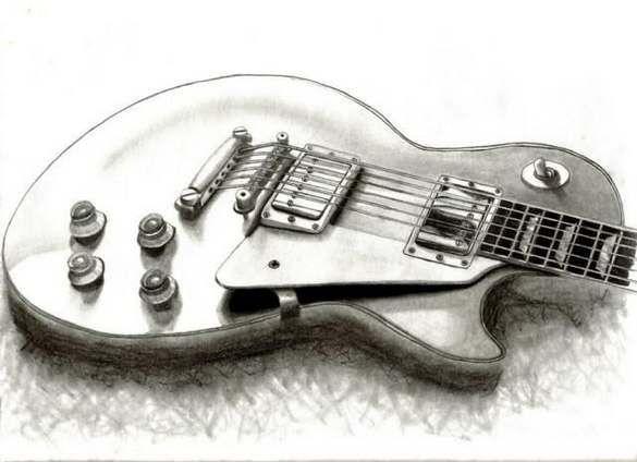 Pencil Drawing Guitar Pencil Drawings Pencil Art Guitar Drawing