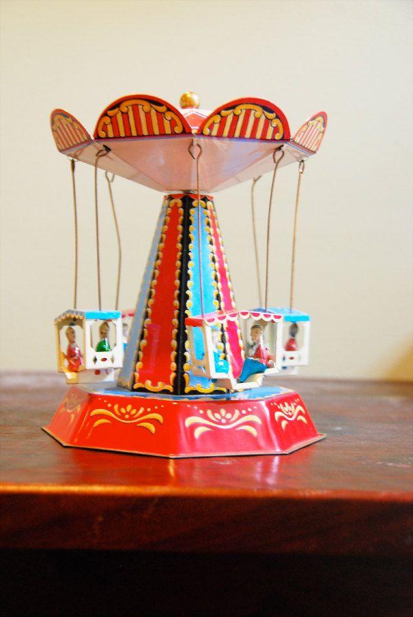 Vintage Tin Toy Spinning Swing Carousel OLD TOYS Pinterest