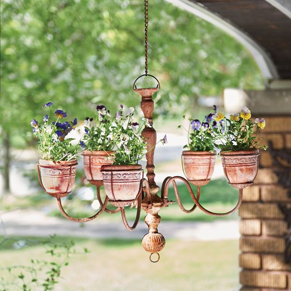 Chandelier Planter Hanging Flower Pots Chandelier Planter Diy Garden Bed