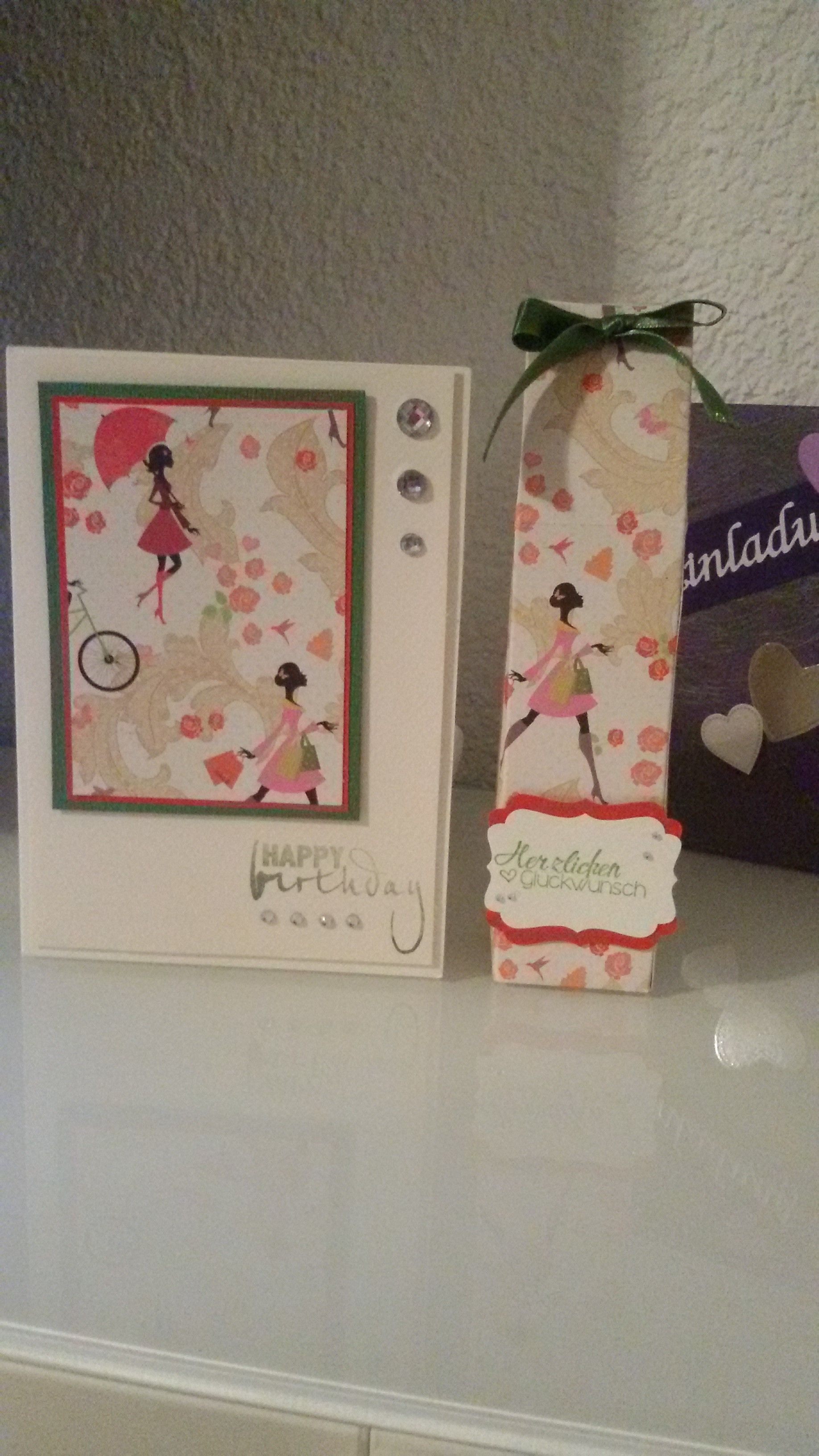 Geburtstagskarte und passende Box für meine Tochter gebastelt