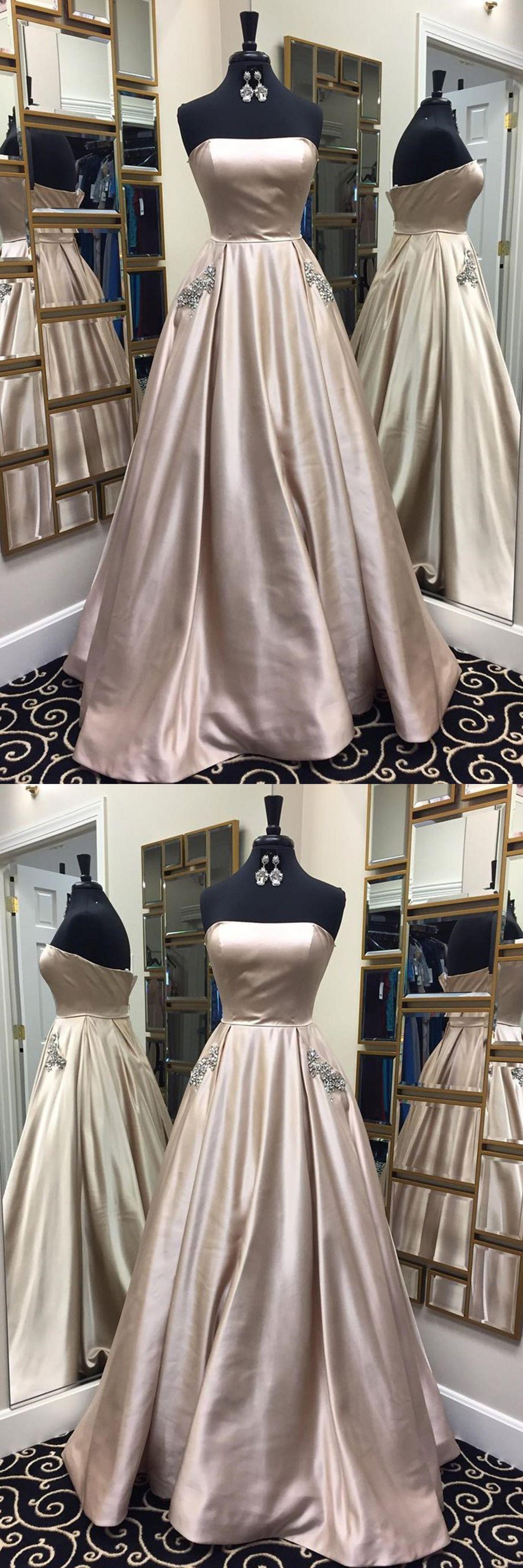 Beautiful prom dresses aline strapless rhinestone light sky blue