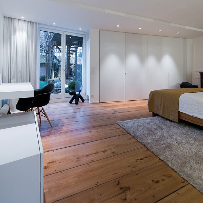 Maison contemporaine design / blanc / intérieur moderne / chambre ...
