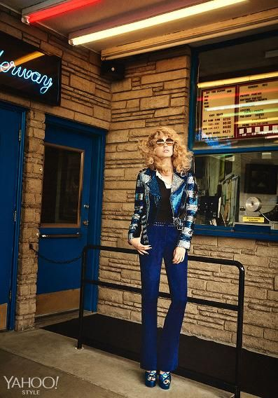 Hugo Boss Top, Price Upon Request, hugoboss.com   V Files Runway Hand-Cut Leather Jacket, Price Upon Request, discountuniverse.com   Caserta Eye Sunglasses, Price Upon Request, Available At Caserta Eye 67 8th Ave New York, NY 10014 (212) 627-3937   Emilio Pucci Blue Suede Pants, $3,050, emiliopucci.com   Saint Laurent By Hedi Slimane Candy 80 Metallic Sandal, $1,495, Saint Laurent 3 West 57th Street New York, NY 10019 212-980-297