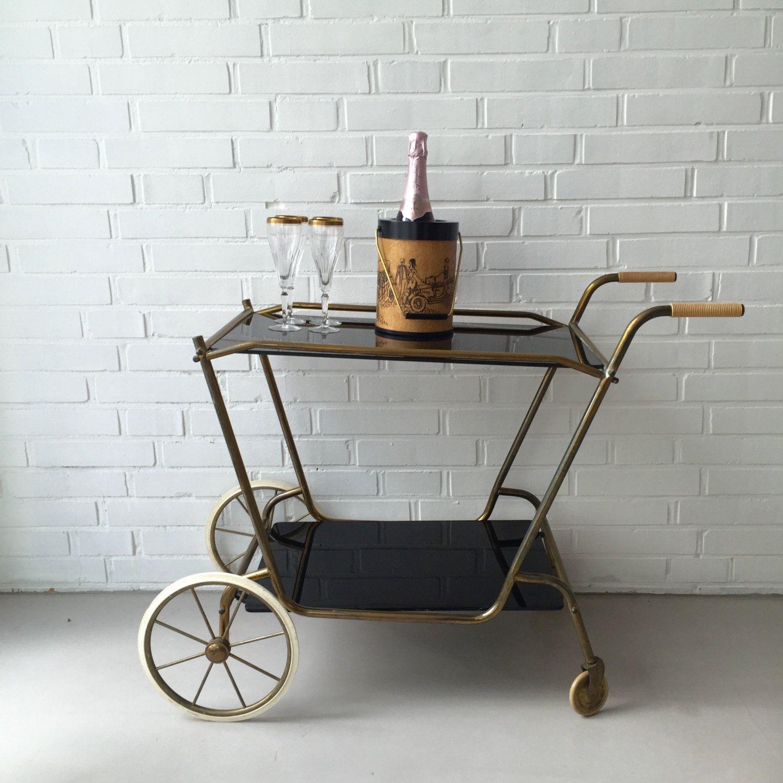 Servierwagen Rund vintage teewagen bartisch retro mid century beistelltisch