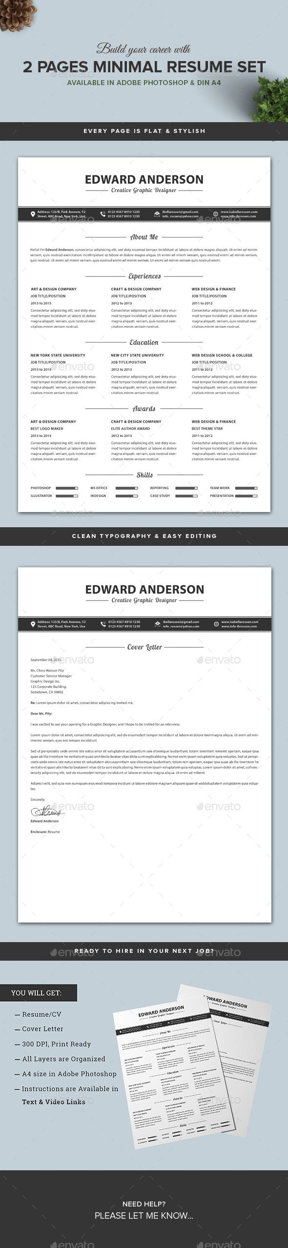 Buy 2 Pages Minimal ResumeCV Set by