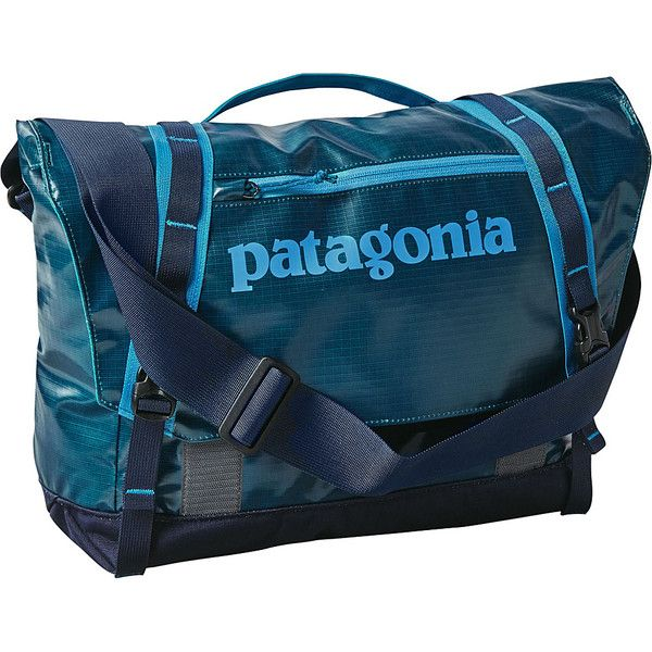 Patagonia Black Hole Mini Messenger 12L ($89) ❤ liked on Polyvore featuring bags, messenger bags, blue, zipper bag, laptop bag, blue messenger bag, blue laptop bag and zip bags