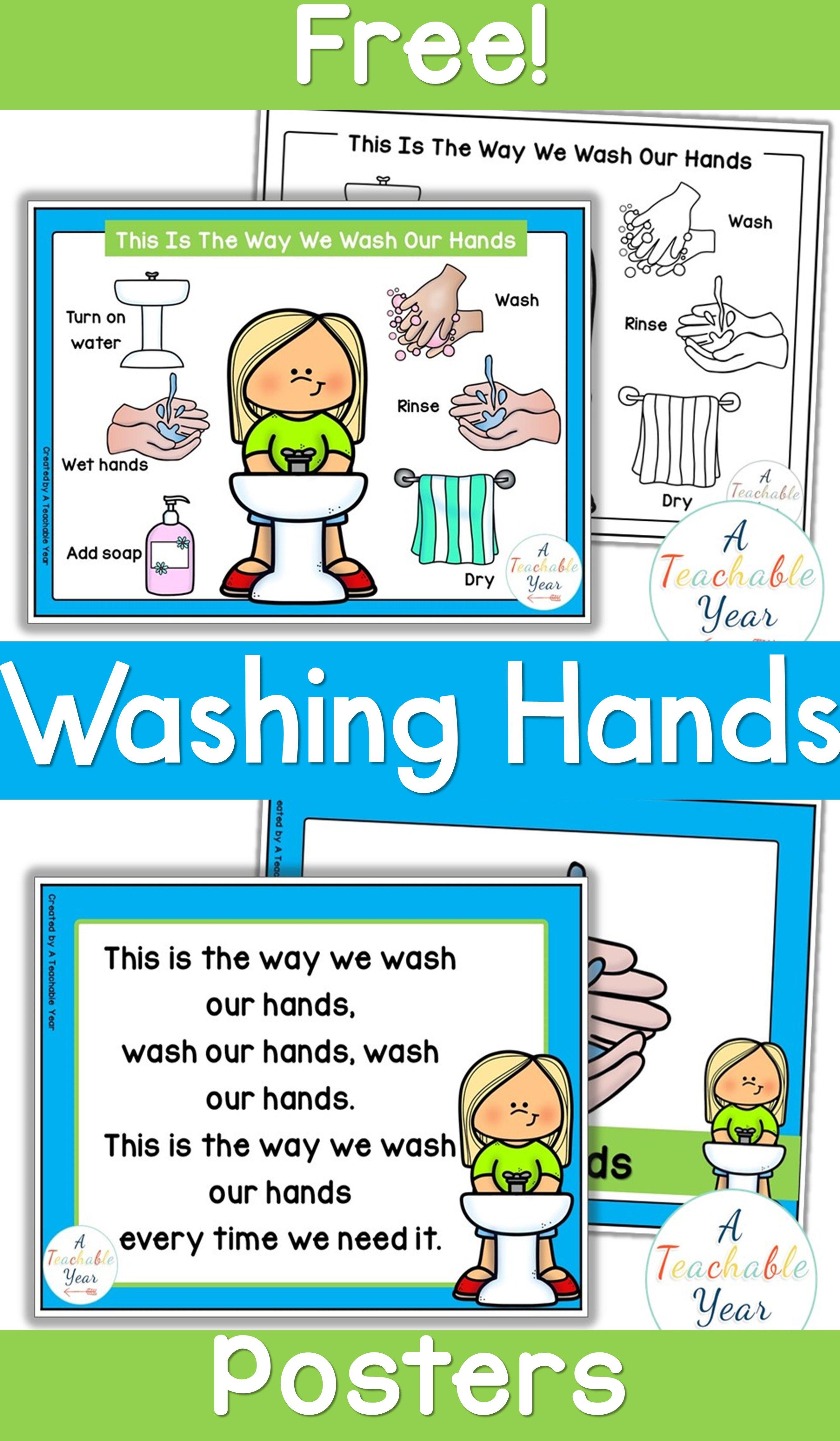 Handwashing Posters Free In 2020 Preschool Classroom Hand Washing Poster School Activities [ 4536 x 2646 Pixel ]