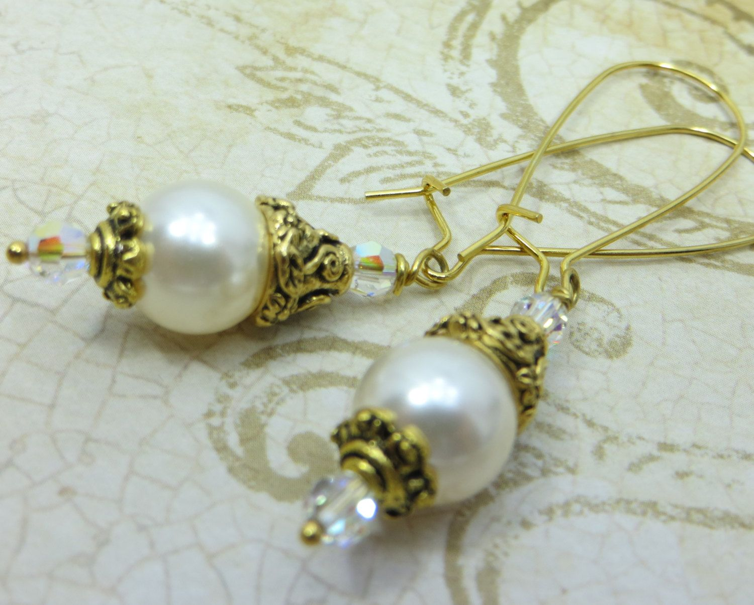 White Swarovski Pearl and crystal earrings in by BZOriginals, $17.95