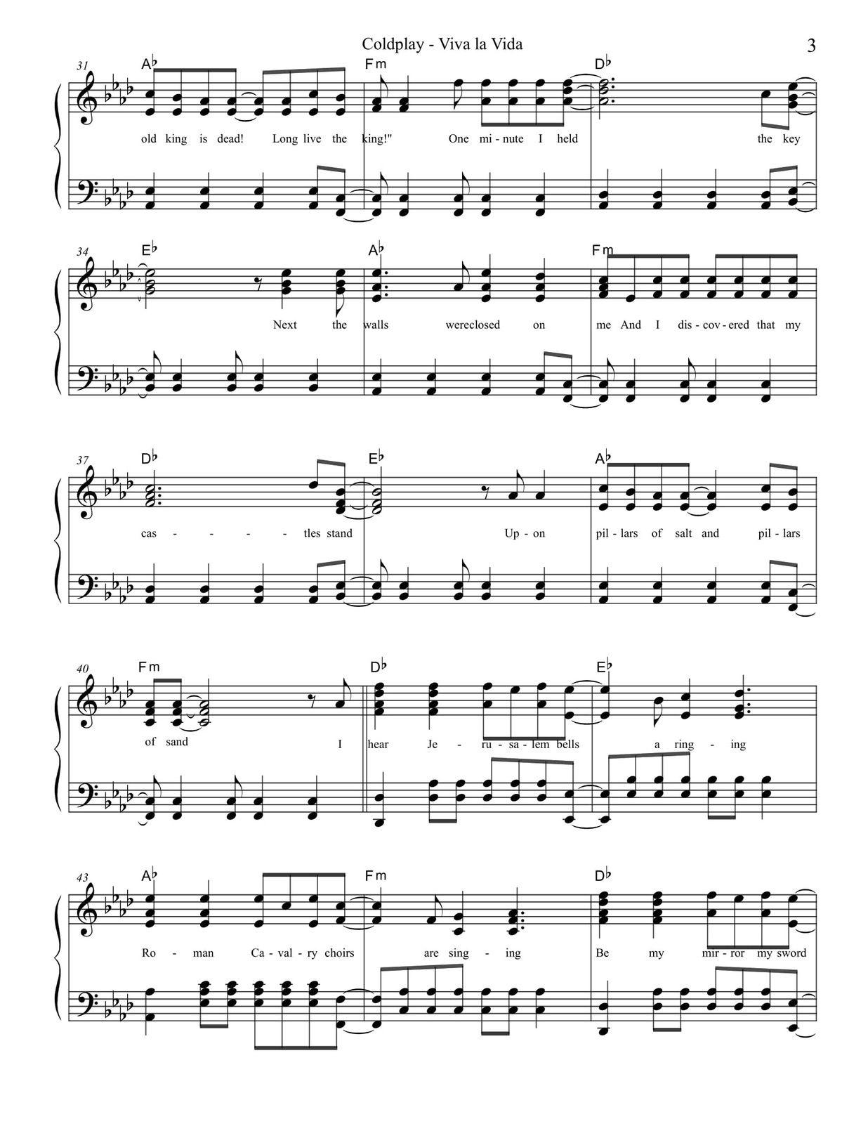 Viva La Vida Easy Key Coldplay Pianobragsongs Com Met