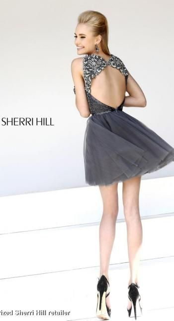 Cute short and open back rhinestone and beaded prom dress in gunmetal grey.  @Terry