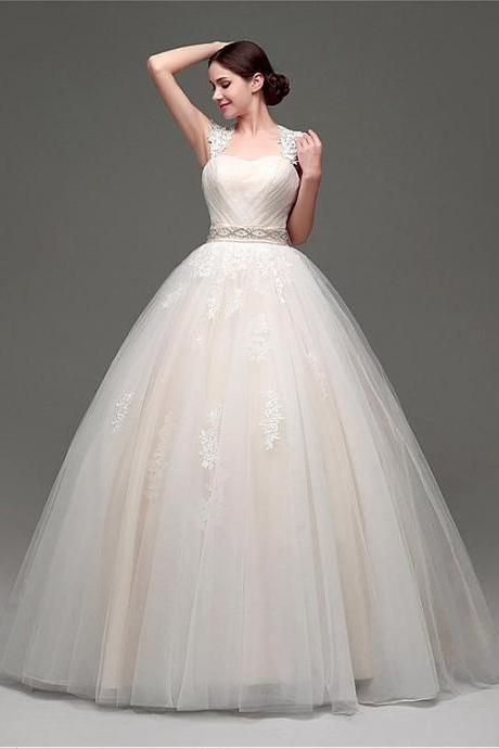 Gorgeous Tulle & Organza Sweetheart Neckline Ball Gown Wedding Dresses With Lace Appliques,W2758