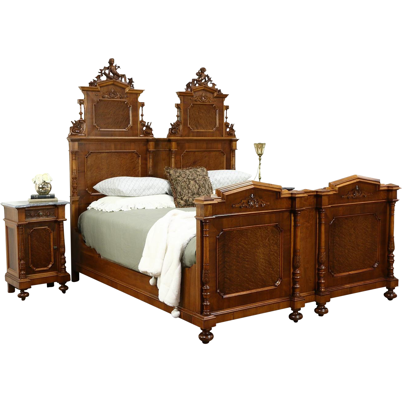 a spectacular bedroom set includes a king size bed with hand carved rh pinterest com
