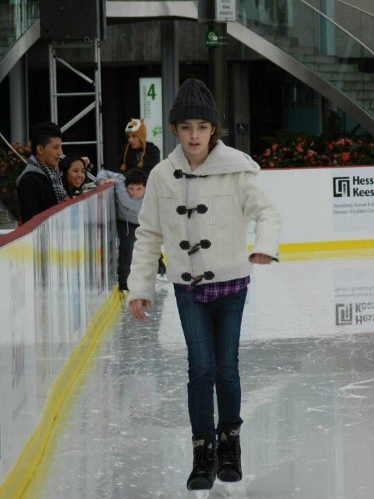 My daughter ice skating in Embarcadero St. San Francisco