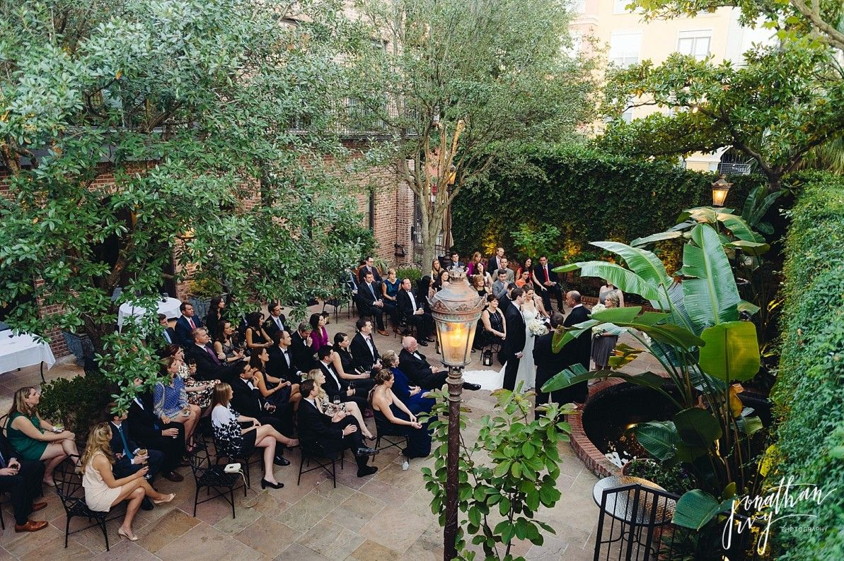 small intimate weddings southern california%0A Intimate wedding set up at Brennan u    s of Houston courtyard