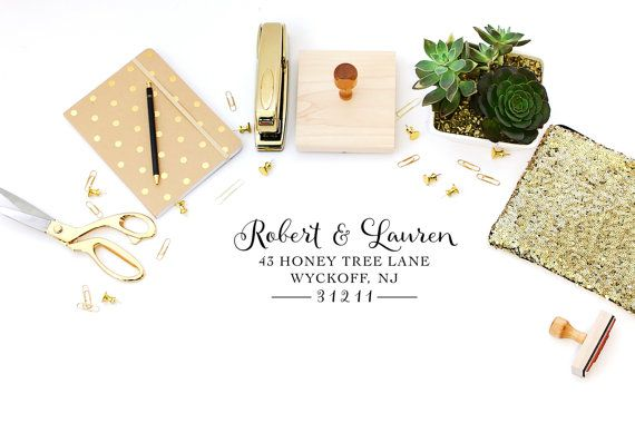 Paper & Party Supplies  Return Address  address stamp  diy wedding  housewarming gift  save the date  self inking label address  Calligraphy address  rsvp address  house warming gift  new home gift  wedding thank you script address heart Couple Personalized Custom Return Address by brittanylaurendesign