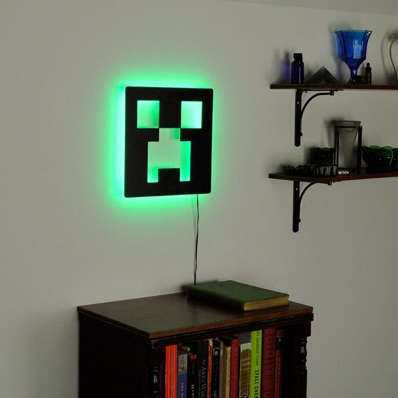Minecraft creeper lamp lighted minecraft logo sign by for Minecraft kinderzimmer