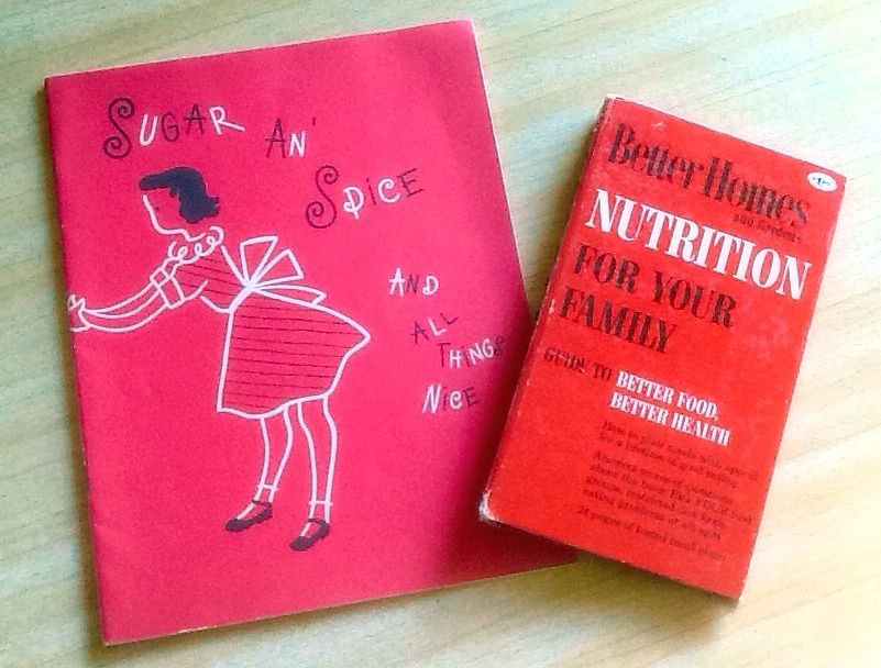 Cute pair of mid-century cook books, kids Sugar an Spice and BHG Nutrition, $12/pair.
