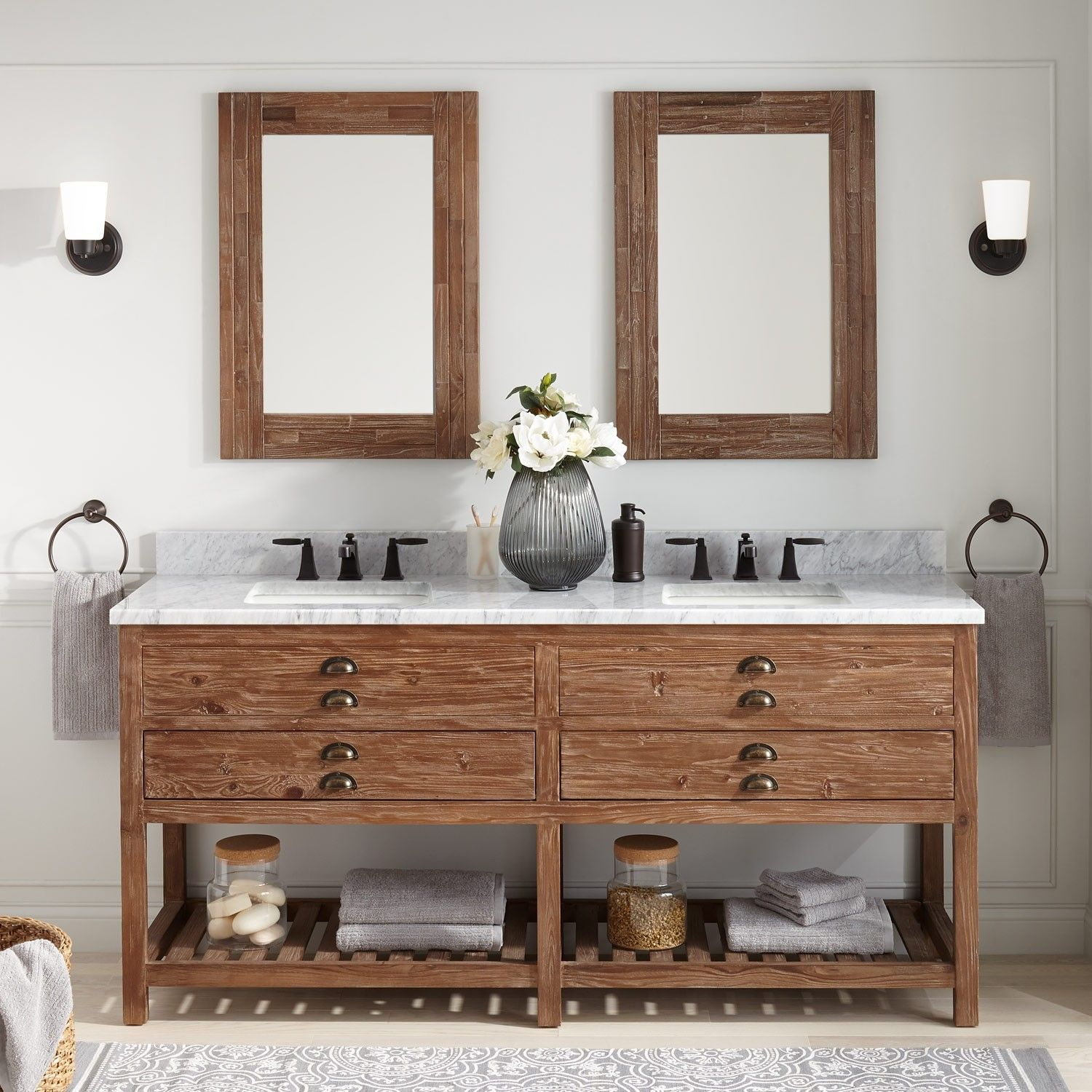 72 benoist reclaimed wood double vanity for rectangular undermount rh pinterest com