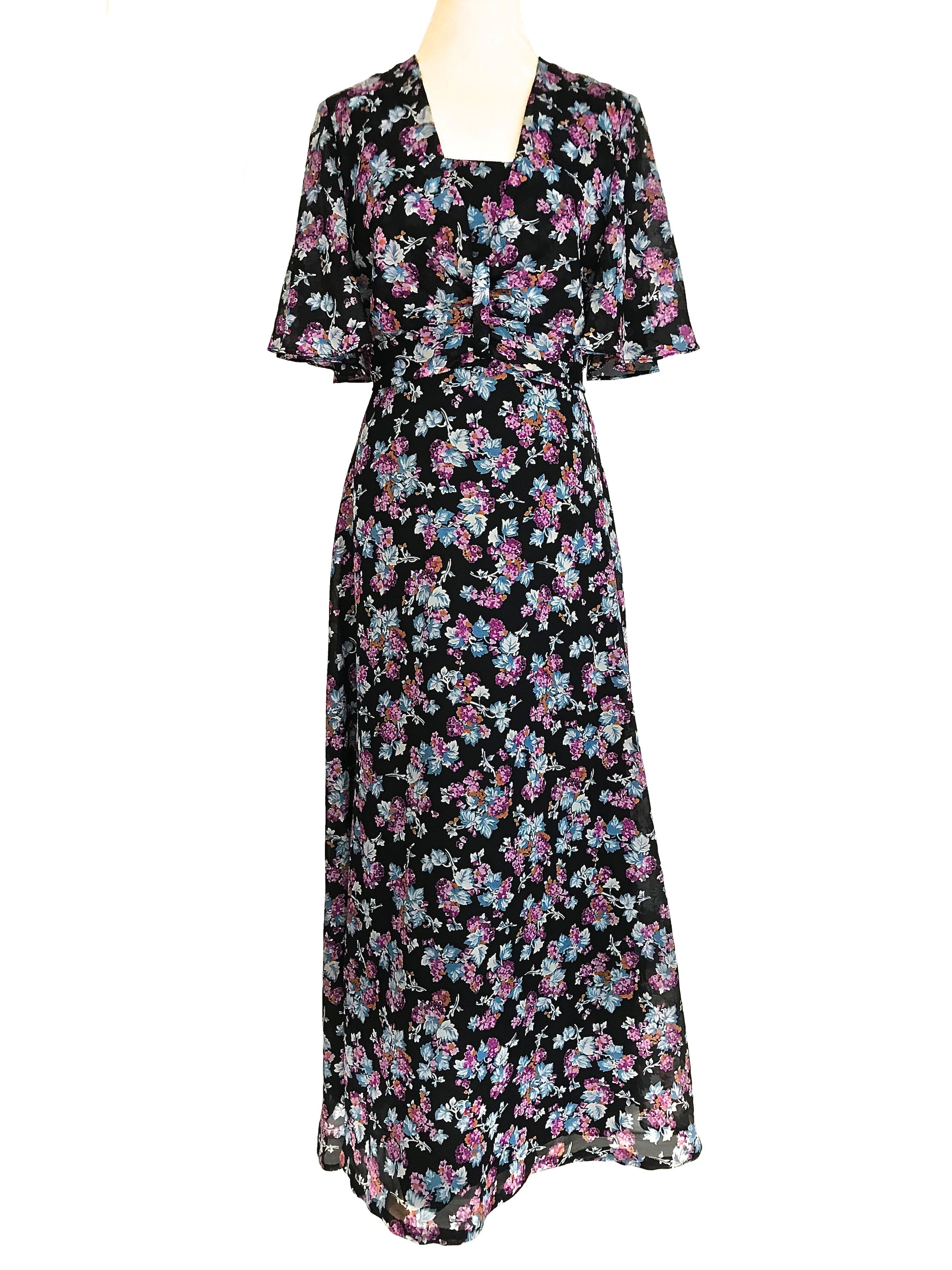 80d28166375 70s Floral Print Angel Wing Sleeve Boho Chic Maxi Evening Dress in ...