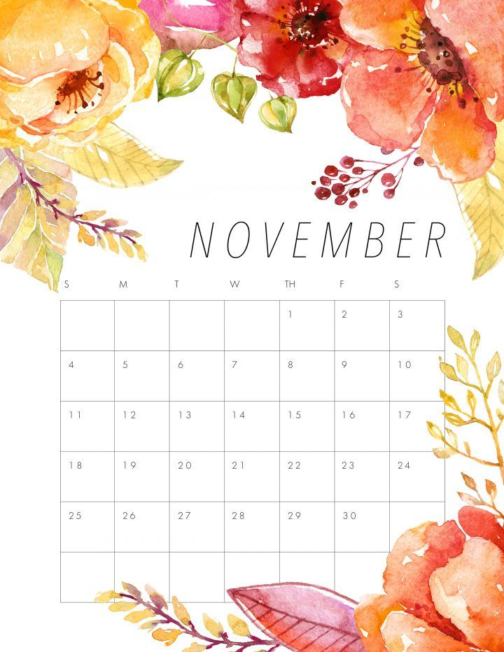 Free Printable 2018 Floral Calendar November Calendar Free