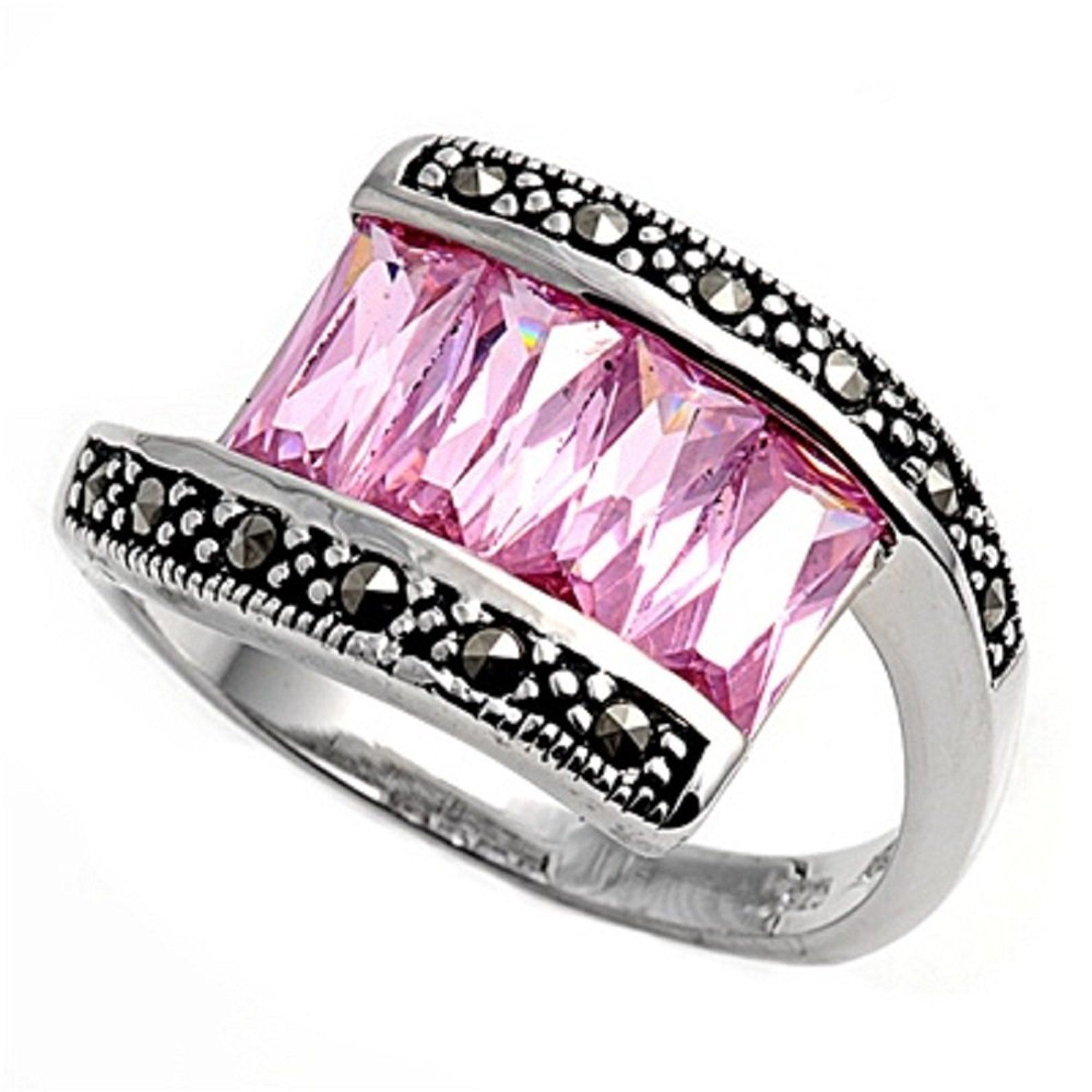 Pink Simulated Marcasite Cubic Zirconia Tension Style Vintage Style ...