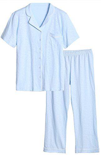 7f638d3fa Latuza Women s Cotton Pajama Set Comfy Short Sleeves Top ... https