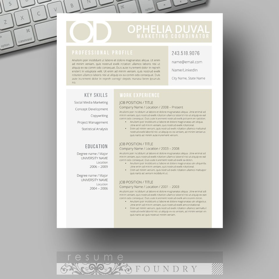 Instant Download  Resume Template  Cv Template  Use With