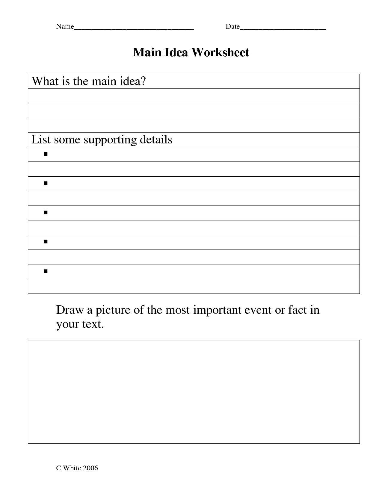 Main Idea Worksheets 5th Grade