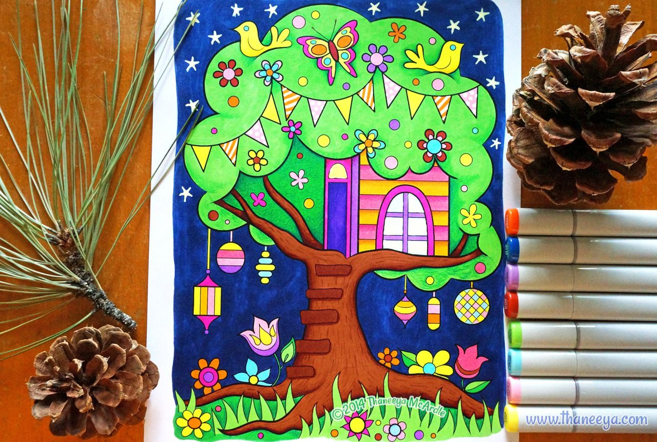 Tree House Coloring Page From Thaneeya McArdles Happy Campers Book Amzn