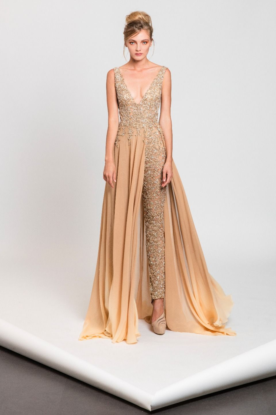 669f86a975 Fully embroidered jumpsuit in shades of nude featuring a Georgette half  skirt.