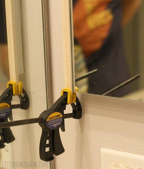 DIY Bathroom Medicine Cabinet Mirror Frame | Littleredwindow.com | Make A  Simple Frame For A Mirrored Medicine Cabinet Door!